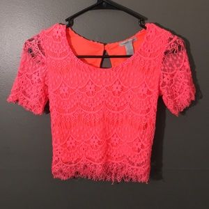 Lace hot pink crop top